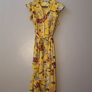 Yellow Floral Button Down Dress with Pockets